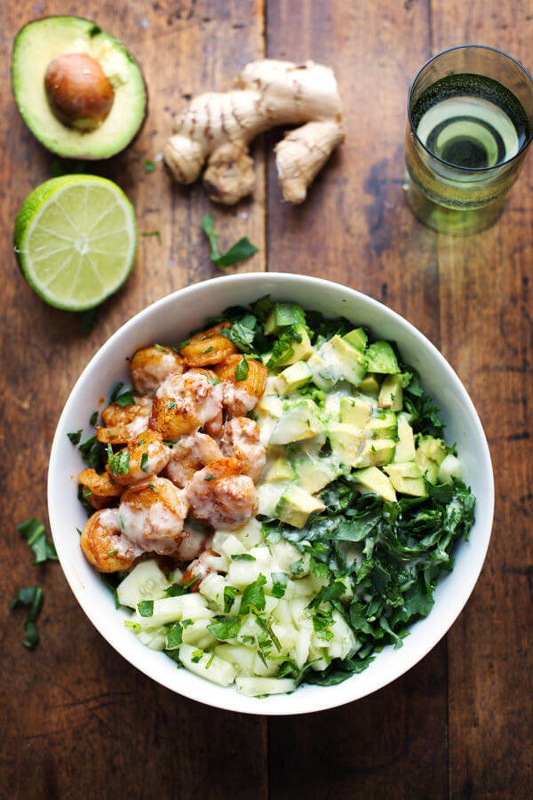 Spicy Shrimp and Avocado Salad with Creamy Miso Dressing